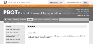 PBOT - Foster Transportation and Streetscape Plan Schedule