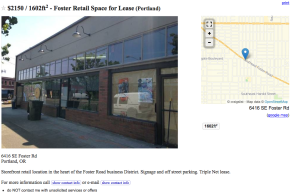 Craigslist -- Retail Space for Lease